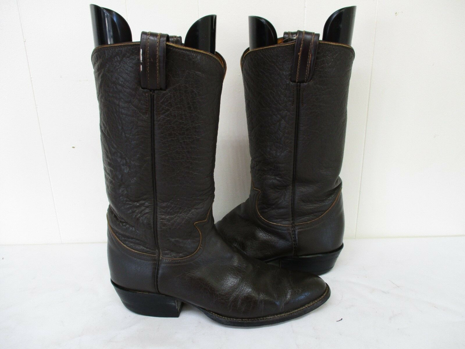 Tony Lama Dark Brown Leather Cowboy Boots Mens Size 8.5 B Style 32437 USA