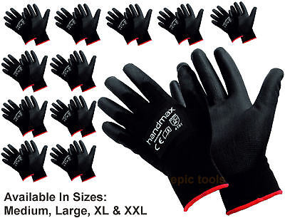 12 PAIRS Blue Nylon PU Coated Work Gloves Flexible Grip Mechanic Decorator