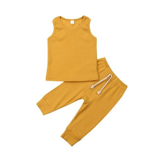US Casual Newborn Kids Baby Boy Girl Top T-shirt Clothes Cotton Pants Outfit Set