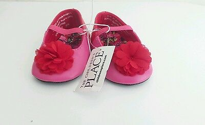 Baby Girls Crib Shoes LIGHT PINK SHIMMER MARY JANES Pretty Flower Accent 3-6 MO