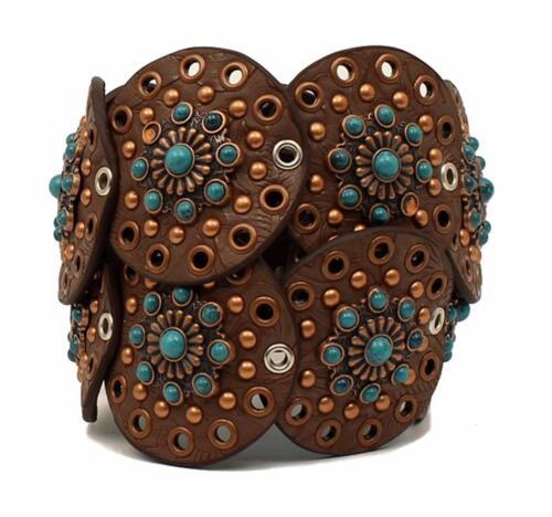 Nocona Western Womens Belt Eyelets Disc Link Concho Waist Brown Turq N3425302