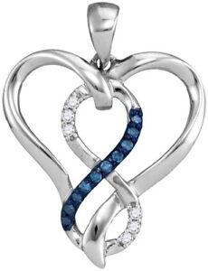 "0.25tcw Infinity Love Created Diamond Heart Pendant 14k White Gold Necklace 16/"""