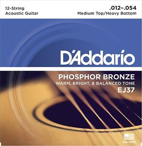 3 Sets Ej37 D'addario 12 Cordes Phosphore Bronze 12-54 Guitare Acoustique Cordes-afficher Le Titre D'origine Luxuriant In Design