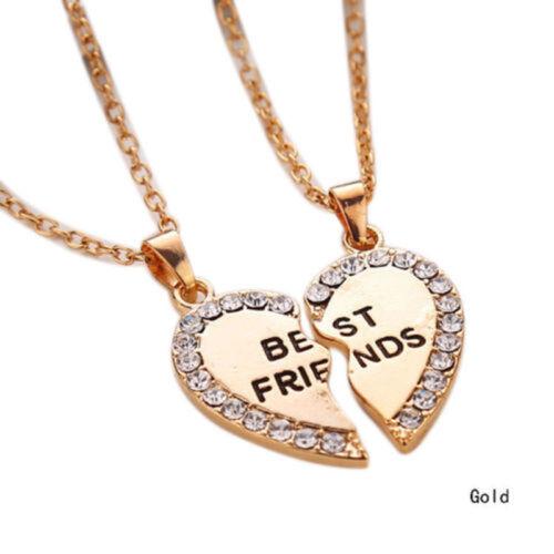 Best Friend 2 Pendants Heart Silver Gold Tone Necklace Bff Friendship Fashion
