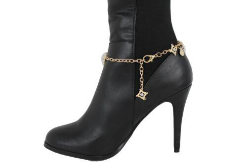 Women Boot Bracelet Gold Metal Chain Happy Shoe Mini Charm Bling Silver Beads