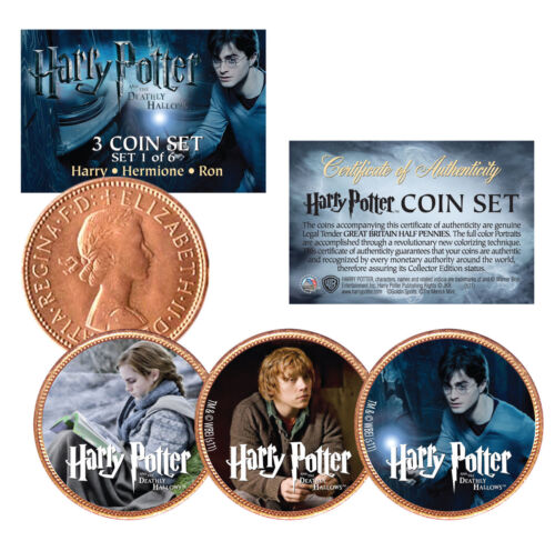 Set #1 HARRY POTTER Deathly Hallows Licensed British UK Half Penny 3-Coin Set