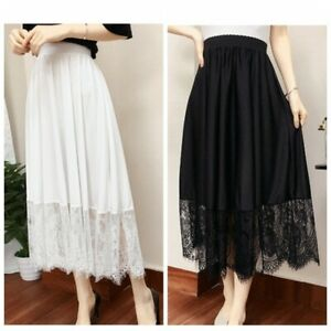 Women Long Skirt A Line Floral Lace Trim Extender Slip Petticoat Underskirt