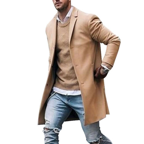 Mens Cotton Trench Coat Classic Slim Fit Collar Overcoat Outwear Long Jacket UK