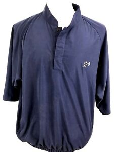 FootJoy-Mens-Shirt-Size-Large-Fitted-Collarless-Salem-Golf-Club-Navy-Blue-N