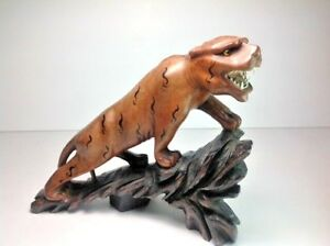 "Jungle Tiger Safari Wild Prehistoric Animal Cat Beast Wood Figurine  8"" X 7"""