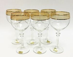 Clear Gl With Gold Trim Wine Goblet