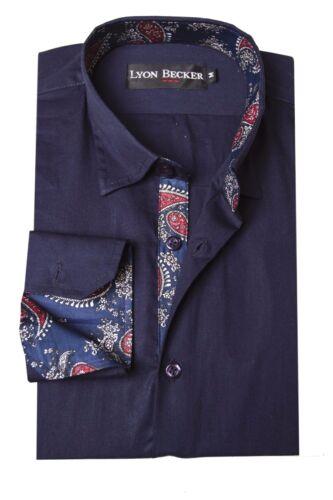 Da Uomo Stile Italiano Slim Fit Casual Formale Camicia Vestito Maniche Lunghe PS15