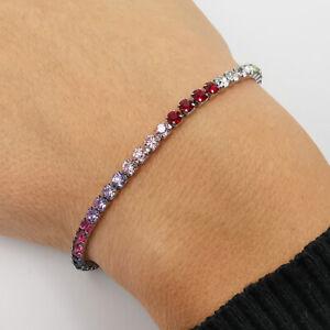 Bracciale tennis donna argento multicolore in acciaio regolabile braccialetto da
