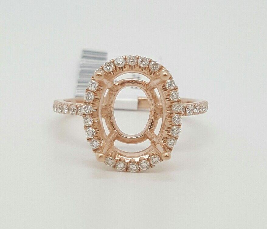 14k pink gold Genuine Diamond Semi Mount Halo Engagement Ring Oval Center 10×8MM