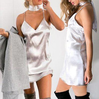 Womens Sexy Nightgown Satin Slip Night Dress Lingerie Silk Underwear Sleepwear U