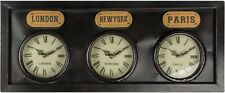 Large Vintage Antique Brown Metal 3 Time Zone Wall Clock London Paris New York