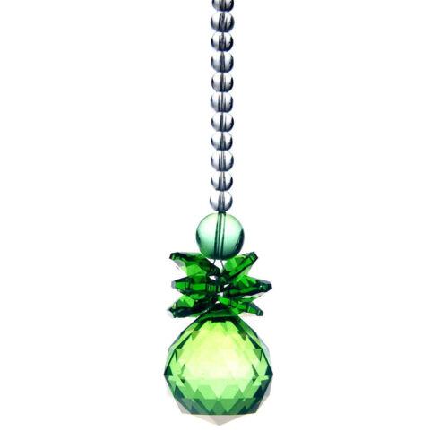Green Faceted Ball Hanging Pendant Garden Sun Catcher Car Ornament Feng Shui