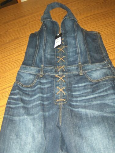 Industry Wash Denim Halter W 888951198287 Up Jumpsuit Nwt In Guess Sz Lace 0 New Tags Hxqfv