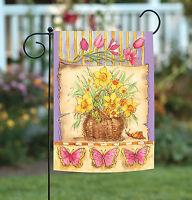 Toland - Daffodil Basket - Colorful Spring Flower Butterfly Garden Flag
