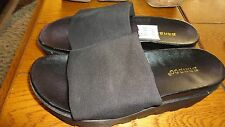 Lois01 Black Comfortable Slide In Foot Bed Platform Lug Sole Flat Sandal Shoes 7