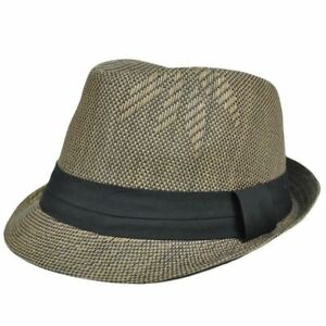 Image is loading Small-Medium-Woven-Straw-Fedora-Trilby-Stetson-Gangster- 2c0e8b125537