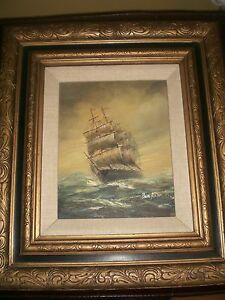 Ben-Richmond-Oil-Framed-19-by-17-Inches-Nautical-Vintage-SALE
