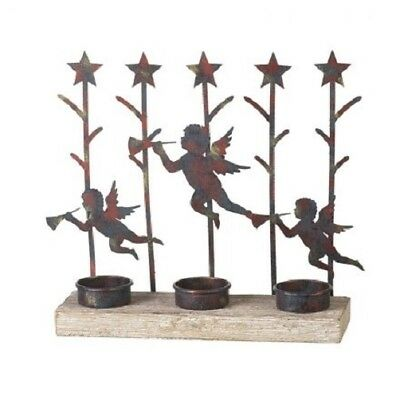 Triple Cherub / Angle with Horn Silhouette Tea Light Candle Holder Display Gift