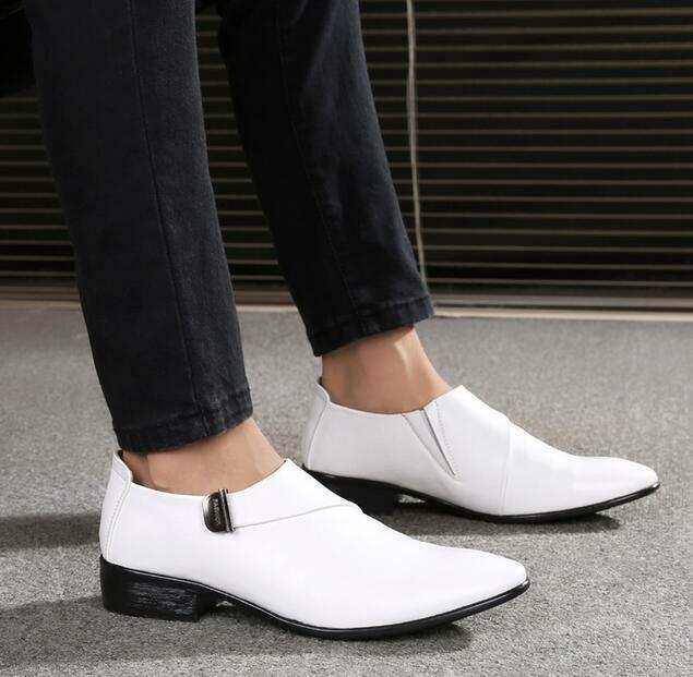 Hot Sale Mens Pointed Toe Busines Dress Formal Wedding White Casual Shoes J401