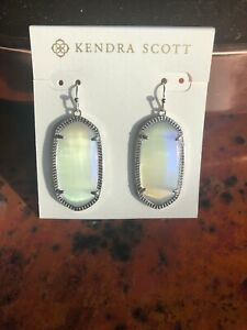 87302f4ab Kendra Scott Iridescent Slate And Silver Drop Elle Small Earrings ...