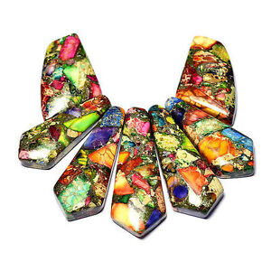 Natural-Rainbow-Sea-Sediment-Jasper-in-Pyrite-Necklace-Pendant-Bead-Set