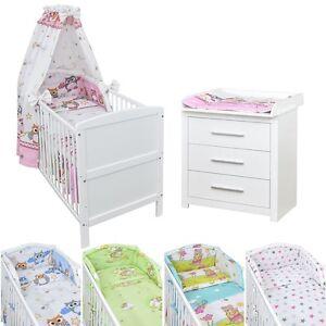 Babyzimmer Babybett Kinderbett Wickelkommode weiß Bettwäsche ...