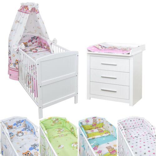 Babyzimmer Babybett Kinderbett Wickelkommode weiß Bettwäsche Komplett Set