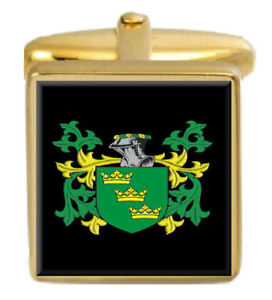 Select Gifts Peggs England Family Crest Surname Coat Of Arms Gold Cufflinks Engraved Box