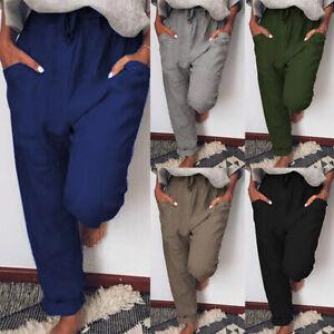 ZANZEA-Femme-Pantalon-Couleur-Unie-Poches-laterales-Simple-Taille-elastique-Plus