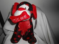 Kellytoy 10 Plush Dog Puppy Black Red Hug Me Bone Lips Sparkle Valentines