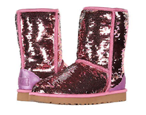 93a535682f1 Details about NIB UGG Women's Classic Short Sequin Boots in Pink size 7