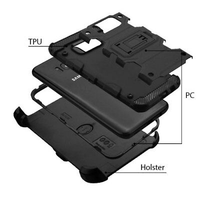 For Samsung Galaxy Note 8 Black Holster Case Belt Clip Cover / Screen Protector
