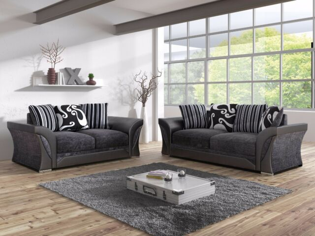Hepburn Black Grey Fabric 3 2 Seat