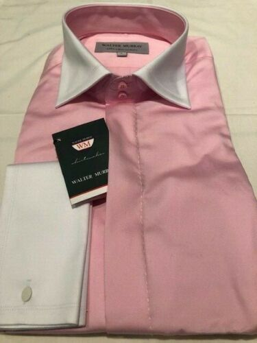 Men/'s Pink Double Cuff Italian Slim Fit Shirt see others
