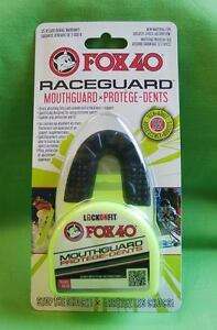 Mundschutz - Zahnschutz von FOX40, Farbe: Schwarz  mit Box neongelb, Junioren