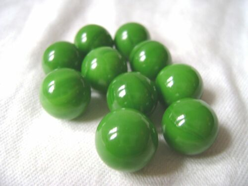 NEW 10 GREEN GOBLIN 14mm GLASS MARBLES TRADITIONAL GAME or COLLECTORS ITEMS HOM