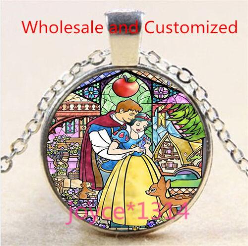 Vintage Snow White Cabochon Tibetan silver Glass Chain Pendant Necklace #4743