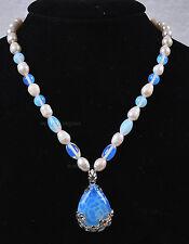 Natural White Akoya Cultured Pearl/Sri Lanka Moonstone pendant(28x35mm)necklace