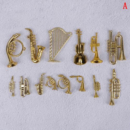 Mini Plastic Musical Instrument Gold Christmas Tree Hanging Xmas DeLA