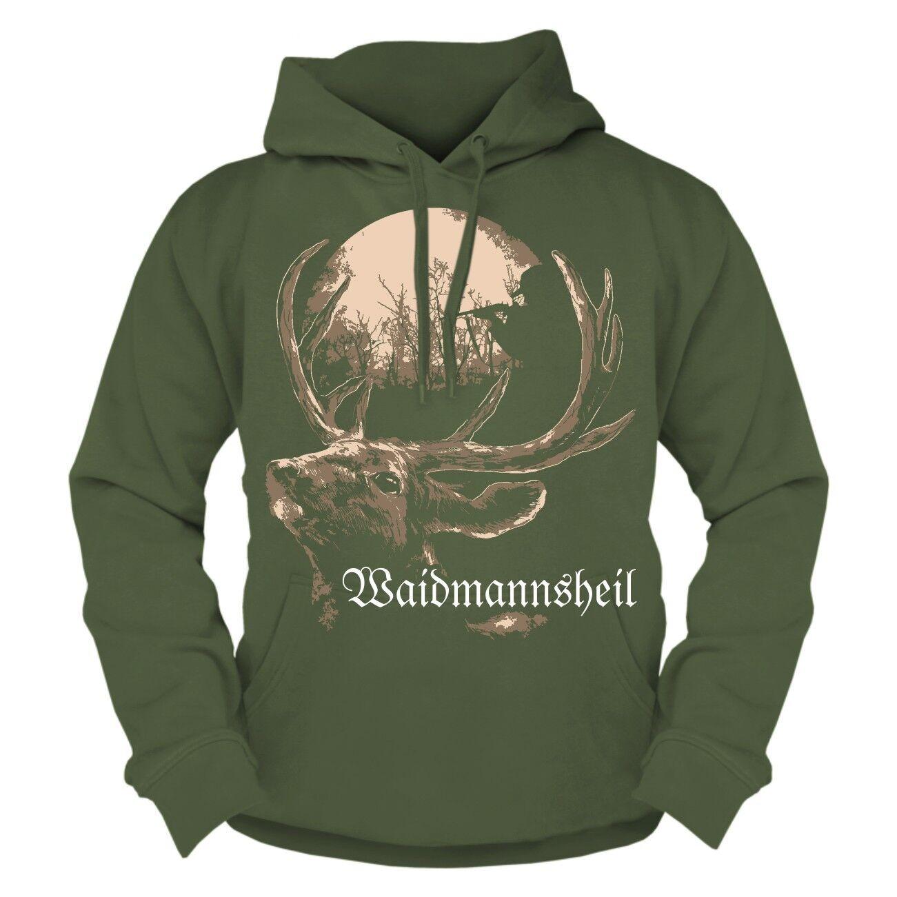 Kapuzenpullover Waidmannsheil Hoodie Jäger Förster Jagd Jagen Hirsch Hobby Beruf