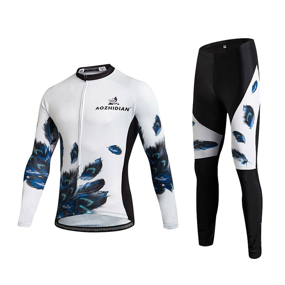 bde633c65 Feathers Men s Padded Cycle Long Pants and Long Sleeve Jersey Bike Cycling  Kit