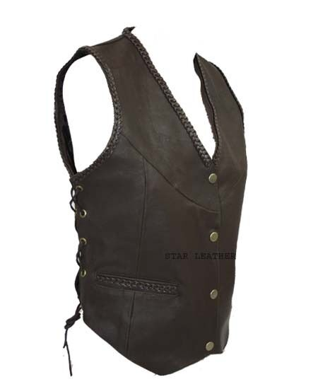 New Womens Brown Real Leather Motorcycle Side Laced Up Biker Waistcoat Vest
