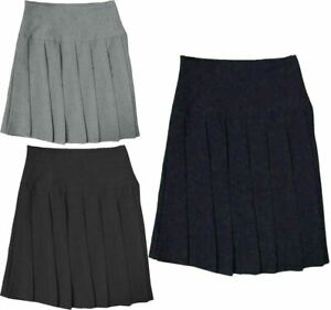 NEW GIRLES WOMENS ALL ROUND PLEATED  SCHOOL SKIRT WITH SIDE ZIP UK SIZES 8-20