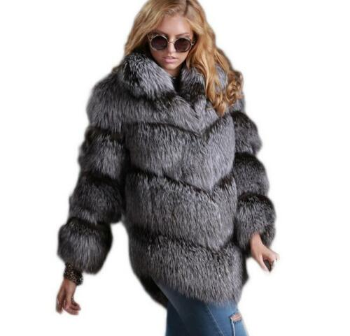 de Parkas en Manteau fourrure les chaudes épaissir longues de hiver fourrure femmes vestes luxe Casual pour fausse XOZiukP