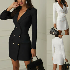 Women-Short-Bodycon-Long-Sleeve-Double-Breasted-V-neck-Work-Dress-Lapel-Blazer